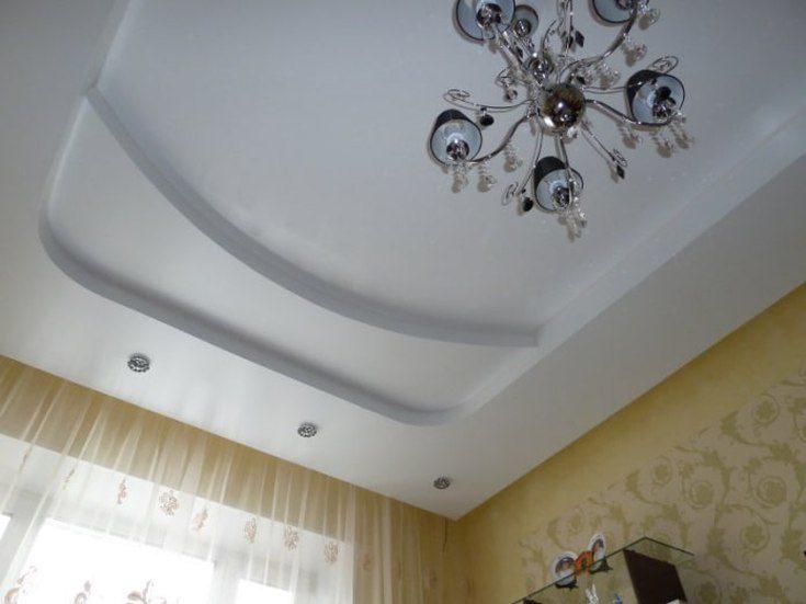(+75 фото) Сатиновый натяжной потолок