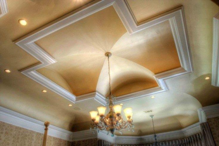(+67 фото) Двухуровневый потолок на кухне из гипсокартона
