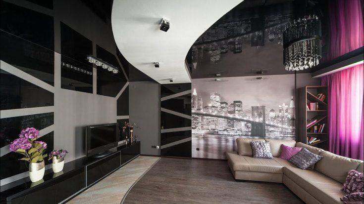 Черный потолок в интерьере фото
