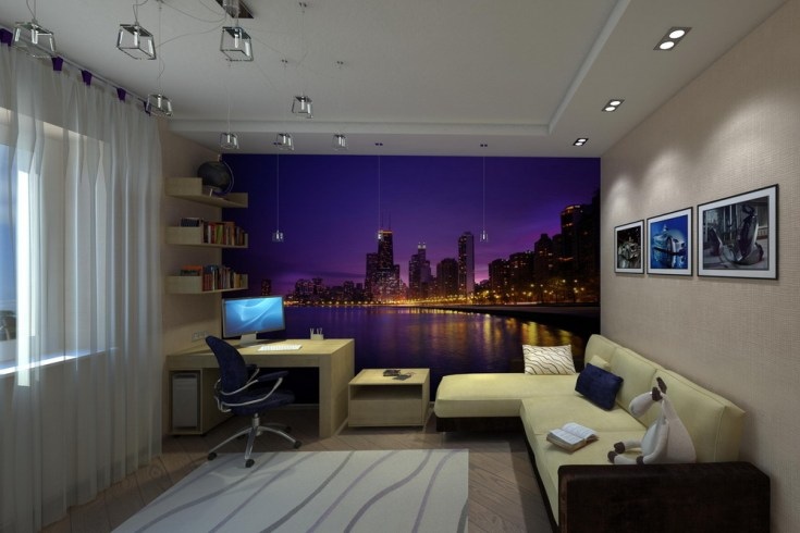 Фотообои ночной город в интерьере спальни подростка фото