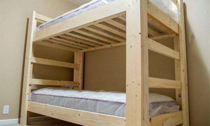 Чертеж двухъярусной кровати из дерева своими руками