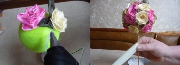 Топиарий из цветов, лент, бумаги и других материалов в современном интерьере