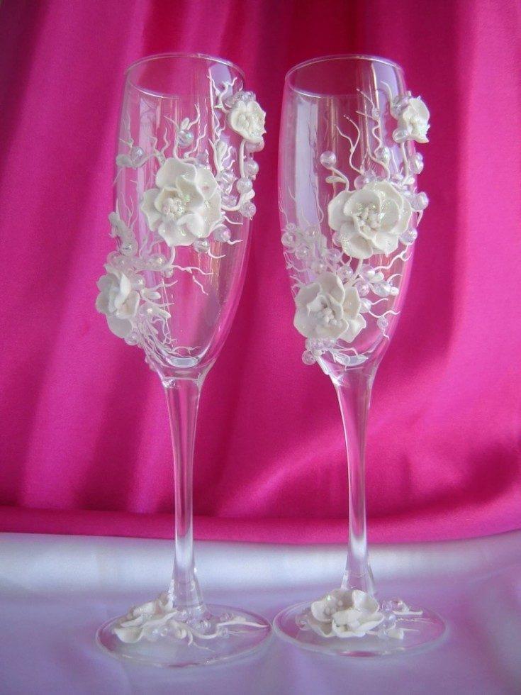 (+98 фото) Декор свадебных бокалов своими руками