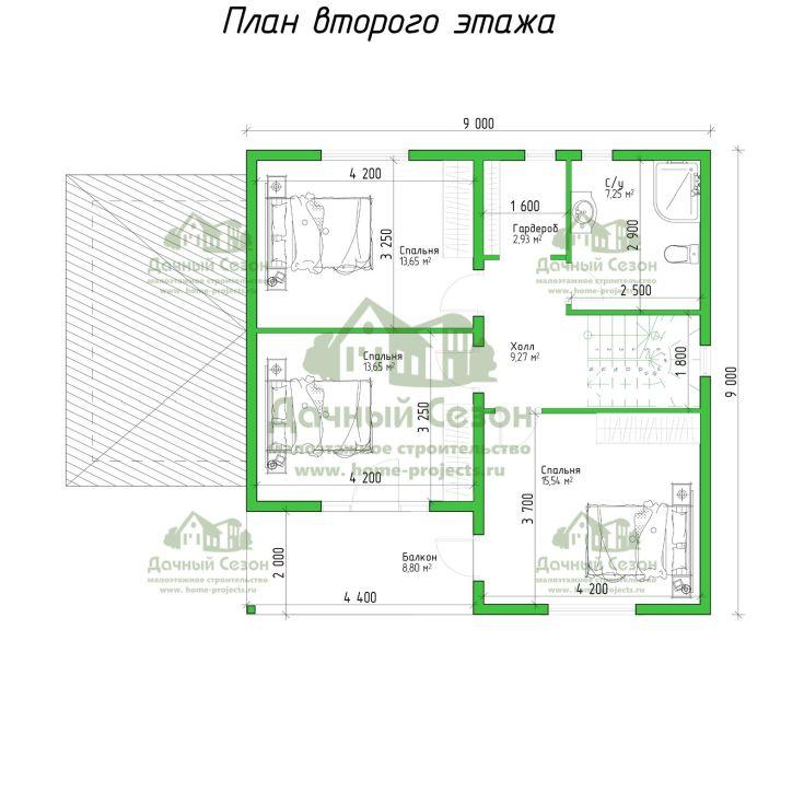 (+56 фото) Планировка дома из бруса 9 на 9
