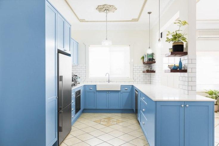 (+30 фото) Голубая кухня в интерьере