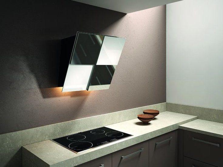 (+45 фото) Вытяжка наклонная в интерьере кухни фото