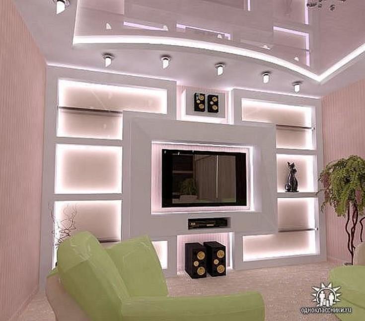 Ниша под телевизор в современном интерьере квартиры 78 фото